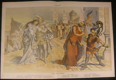 Democrat True Knight Grover Cleveland Wagner 1887 antique color lithograph print