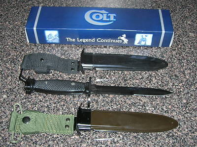 A NEW M SEVEN Bayonet with Colt Logo and 2 NEW Scabbard