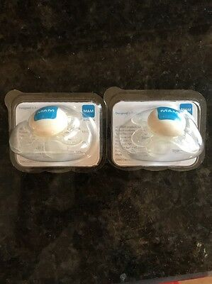 Lot Of 2 MAM Pacifiers NEW clear Boy Or Girl