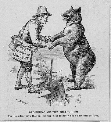 President Theodore Roosevelt With Bear Plans For The Preservation Of Big Game