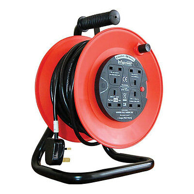 Brand New Infapower Extra Long 50 Metre Extention Lead - Socket Reel Black/red