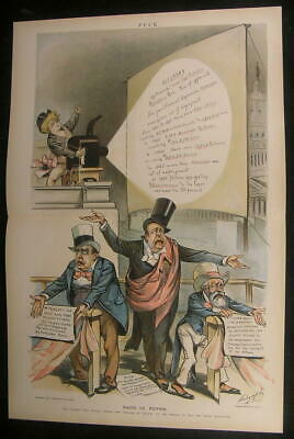History Truth Lying Politicians Ben Harrison 1894 antique color lithograph print
