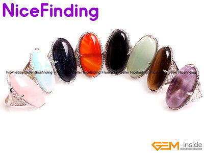 Natural Gemstone Oval Protection Rings Silver Plated Fashion Jewelry Decoration