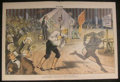 Blaine Tattooed Shadow Republican Racing 1884 antique color lithograph print