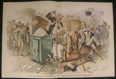Pension Grabbers Corrupt Veteran Fake Injury 1889 antique color lithograph print