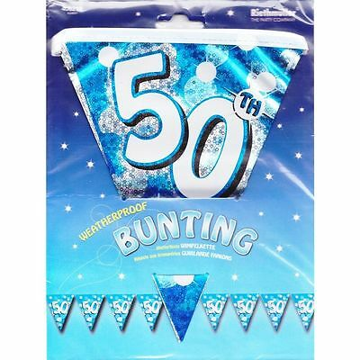 Blue Sparkle Party 4 m Bunting Flag Banner 50th Male Birthday Boy - Waterproof
