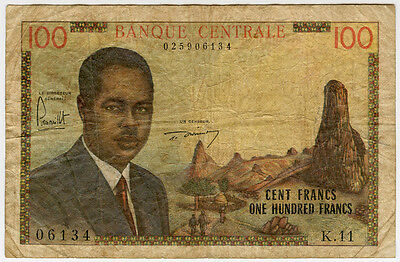CAMEROUN 1962 ISSUE 100 FRANCS BANKNOTE SCARCE.PICK#10a.