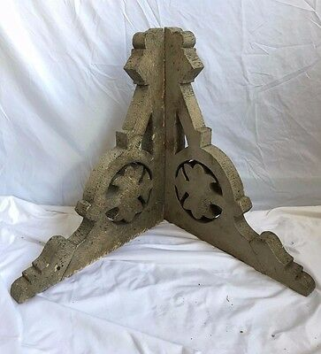 Antique Pair(2) Wood Corbels Brackets Victorian Gingerbread Crusty Taupe 312-17
