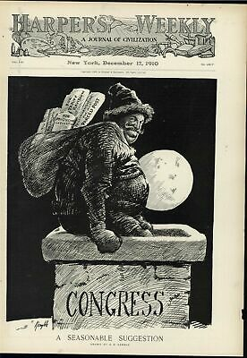 Seasonable Suggest Santa Claus Congress Chimney 1910 antique decorative print