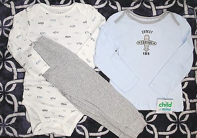 NEW CHILD OF MINE By CARTERS Boys One Piece Bodysuit Shirt Tops Pants Set 24 Mo