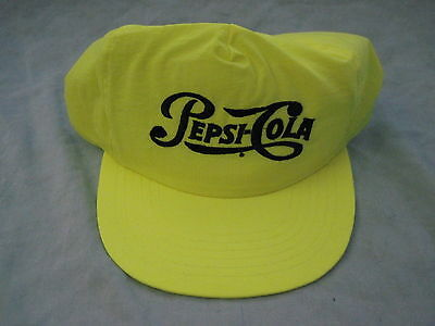 New PEPSI-COLA Baseball Cap FLOURESCENT YELLOW Adjustable NEW