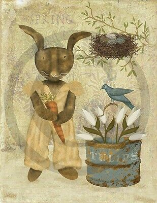 Primitive Spring Easter Bunny Rabbit Bird Tulips Print 8x10 Laser printed