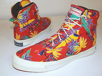 Vtg 80's Converse RED Men BLUE LABEL USA Hi Top HAWAIIAN Shoe SNEAKERS 10.5 1/2