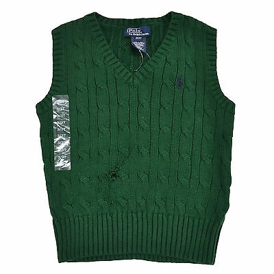 Polo Ralph Lauren Toddler Boys Cable Knit Sweater Vest V-neck 3T Green Damaged