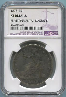 1873 Trade Silver Dollar, T$1. NGC XF Details