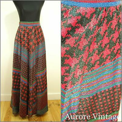 FUNKY VINTAGE 1970s GLAM ROCK GLITTER METALLIC RED GRAPHIC MAXI SKIRT 12 40