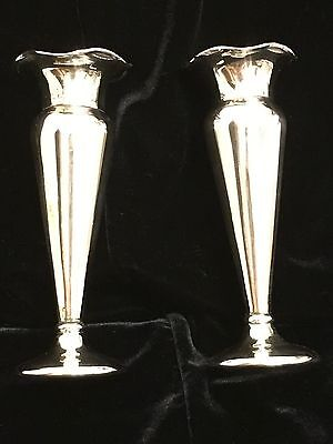 A Stunning Matching Pair Of Vintage Silver Plated Flower Display Vases