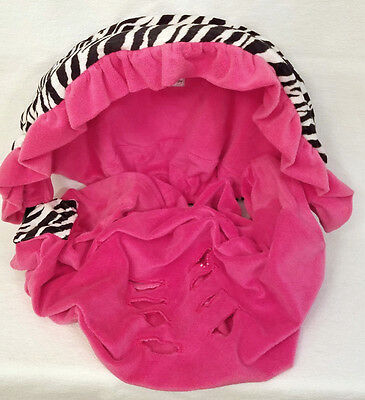 Ritzy Baby Fleece Pink Zebra Car Seat Carrier Cover with Canopy Bonnet