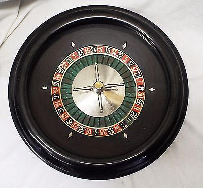 Old Antique LARGE CASINO FRENCH Ebony & Metal ROULETTE GAMBLING WHEEL