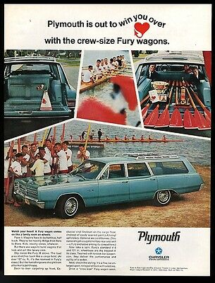 1967 sculling rowing crew 4 photo Plymouth Fury III wagon car vintage print ad