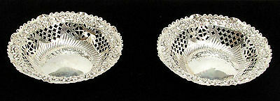 Wonderful Pair Of 1896 Chester England Sterling Silver Reticulated Candy Dishes