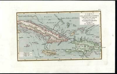 Cuba Jamaica Haiti Caribbean Columbus 1840 rare antique Marmocchi color map