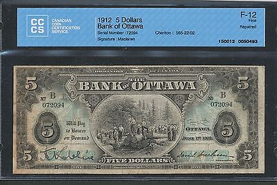 1912 The Bank of Ottawa $5. Fine F-12 CCCS. 565-22-02. Rare piece.