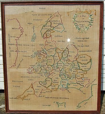 ANTIQUE 18th C SAMPLER MAP COUNTIES OF ENGLAND & WALES-PART SCOTLAND & IRELAND