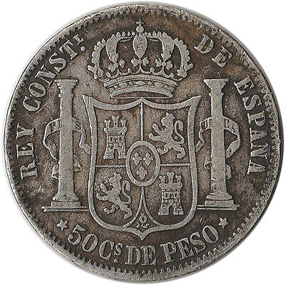 1882 Philippines (Spanish) 50 Centimos Large Silver Coin KM#150