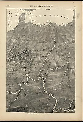 Basin of the Mississippi River Cairo Delta 1866 antique Civil War map