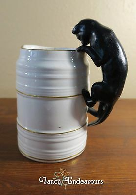Antique English or French Black Cat Handle Pottery Jug Pitcher