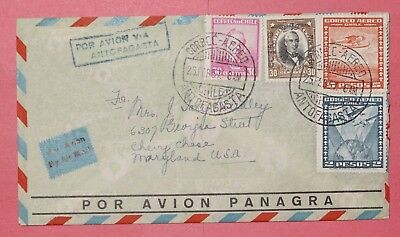 1937 Chile Quad Franked Overprint Airmail Cover Antofagasta To Usa