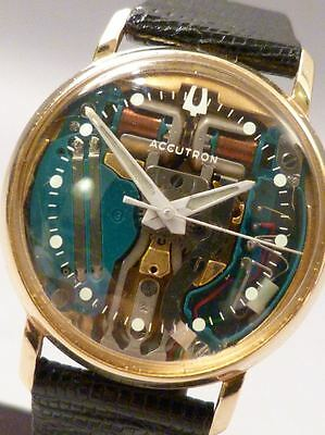 vintage BULOVA ACCUTRON Spaceview 14ct. GOLD 60er Jahre