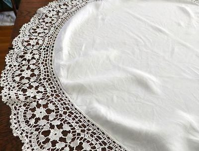 "42"" ROUND Lace & Linen Large Doily Small Tablecloth Crocheted Edging"