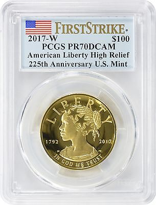 2017-W $100 American Liberty High Relief Gold PR70DCAM PCGS First Strike Label