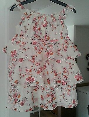 NEXT baby girl cream/pink floral frilly cotton summer dress size 12/18 months