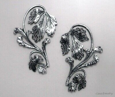 #3452 BEAUTIFUL ANTIQUED SS/P LEFT & RIGHT FLORAL ADORNMENT - 2 Pc Lot (1 Pair)