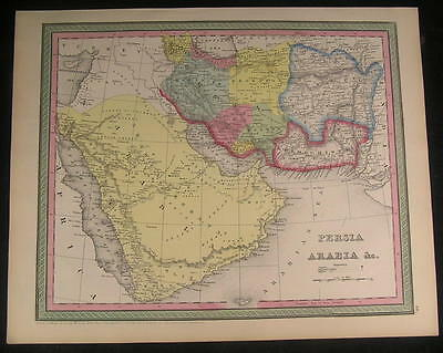 Arabia Persia Baluchistan Red Sea Sinai 1850 antique fine Cowperthwait map