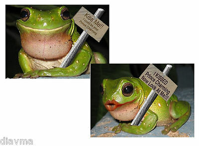 © ART - Ltd.Ed. set of 2x Green Tree Frog Humor - ACEO collector card by Di