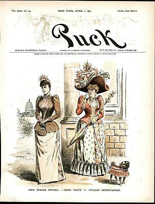 Spring Styles Republican Democrat Modesty 1891 antique color lithograph print