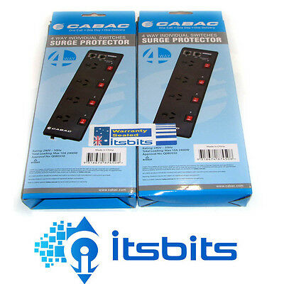 2x CABAC PB4SW 4WAY SURGE PROTECTION POWERBOARDS + SWITCHES AND PHONE MODEM FAX