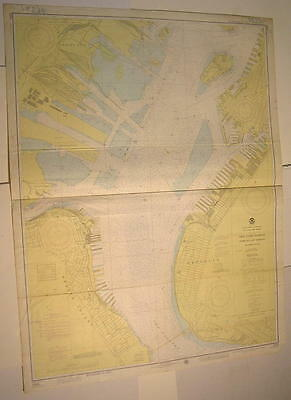 New York Harbor Jersey City Narrows Governors Island 1976 vintage nautical map