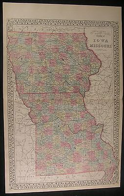 Iowa Missouri Plymouth & Woodbury County 1882 antique hand color lithograph map