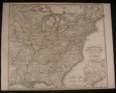 Eastern United States w/ Texas inset 1866 antique engraved hand color map