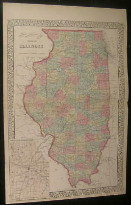 Illinois w/ Springfield area inset 1882 old vintage lithograph hand color map