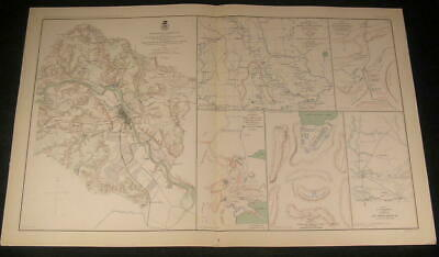 Fredericksburg Battle Big Mound c.1890's huge detailed old vintage Civil War map