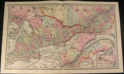 East Canada Quebec 1893 antique lithograph hand color map