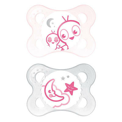 MAM 0-6 Months 2 Pack Start Glow in the Dark Pacifier - Pink Bird and Moon