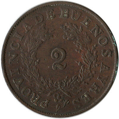 1853 Argentina - Buenos Aires 2 Reales Large Coin KM#9