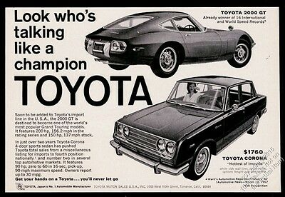 1967 Toyota 2000GT 2000 GT & Corona car photo vintage print ad